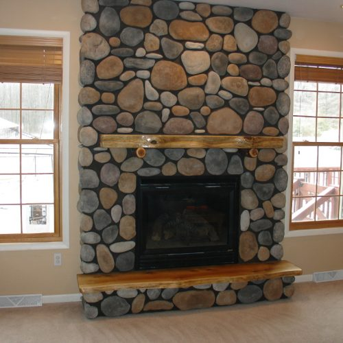 Stone Wall Glass Wooden Floor Windows Lights Up Stone Fireplace